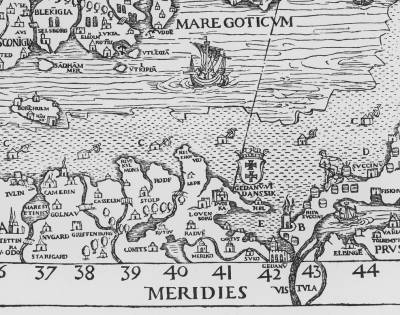 Fragment mapy Carta Marina, autorstwa szwedzkiego duchownego Olausa Magnusa (1539)